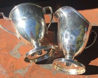 Antique Woodside Sterling Silver Sugar & Creamer Set
