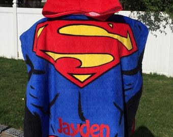 SUPERMAN Hero Hooded Beach Towel Poncho - Personalized