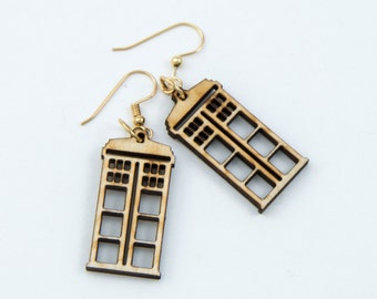 Tardis Laser cut earrings