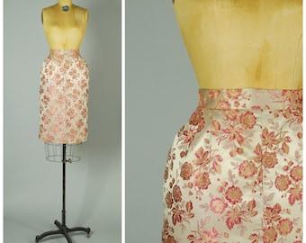 Silk Roses skirt • 1950s silk pencil skirt