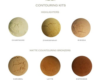 SAMPLE SIZE - Professional Mineral Makeup Contouring Kit - Highlighter & Matte Bronzer - All Natural - Flawless - Women - Sculpt