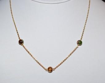 Vintage, Genuine Tiger Eye & Jade Ball Pendant Necklace (1050032)