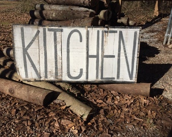 Kitchen Large Distressed Sign