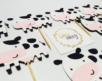 Handmade Cupcake Topper - Cow Farm Theme x 12