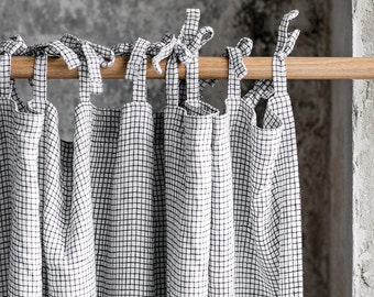 Small checks. Washed linen curtain/drape for relaxed look