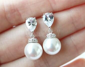 White swarovski pearl earrings, Wedding gift earrings, White bridal earrings, CZ stud earrings, Pearl dangle Earrings, Bridesmaid Gift,