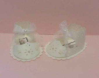 10 pc baby shower favor box, baby paper shoes favor box.