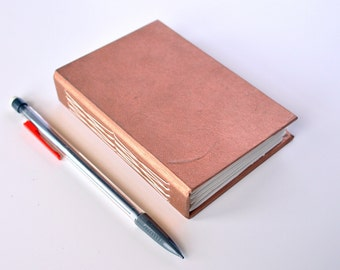 "Simple Handmade Mini Notebook    Metallic Bronze    Journal, Diary, Sketchbook    3.25"" x 4.5"" x 1    Ready to Ship!"