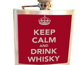 Liquor Hip flask Stainless Steel 6 oz. Keep calm &  drink whisky. Custom flask .