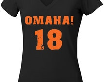 Omaha! 18 Peyton Manning Denver Women/Juniors T shirt also come in V neck