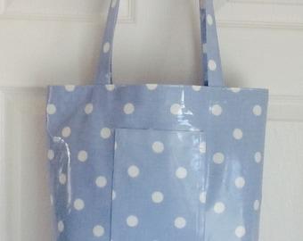 Oilcloth tote bag with umbrella pocket/shopper