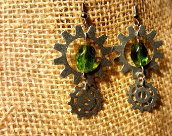 Steampunk Silver Gear Dangles with Green Crystal Beads