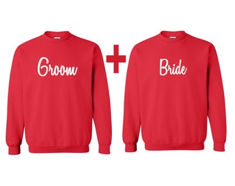 Bride and Groom Couples crewneck, Bride and Groom sweatshirts, Couples crewneck, gift for her, gift for him