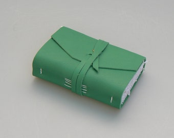 Handmade Leather Book / Pocketbook (small size) - Green