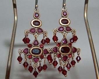 p7666: Vintage Garnet Drop Dangle Chandelier Cluster Earrings Pierced at Vintageway Furniture