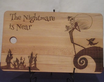 Jack Skellington, Nightmare Before Christmas gift, customable xmas cutting board, personalized holiday decoration or present