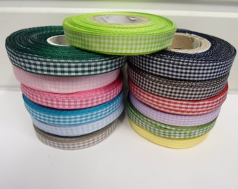 2 or 25 metres 10mm Gingham ribbon, double sided check