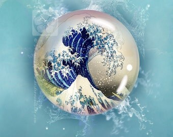 Art print, GICLEE print, Limited edition print, photographic collage of Hokusai's 'Great Wave' in an Orb + free shipping + charity donation