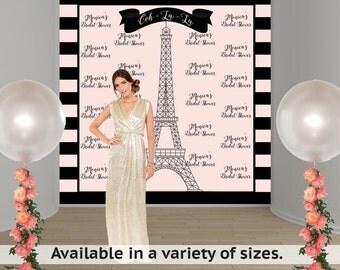 Parisian Dream Personalized Photo Backdrop - Birthday Photo Backdrop-Bridal Shower Photo Backdrop, Paris Backdrop. Effiel Tower Backdrop