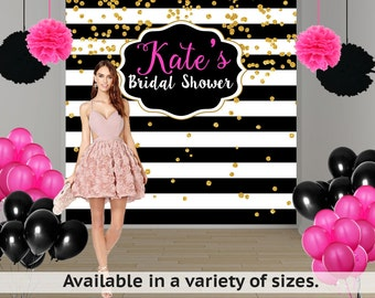 Bridal Shower Personalized Photo Backdrop -Black and White Photo Backdrop- Milestone Birthday Photo Backdrop - Custom Photo Booth Backdrop