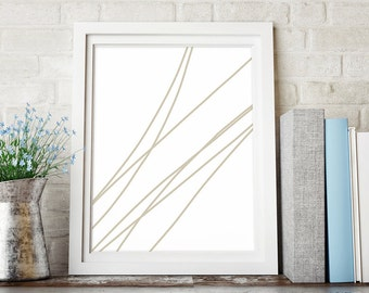 Abstract Line Art, Minimalist Art, Line Drawing, Printable Art, Abstract Print, Abstract Wall Art Print, Beige Wall Decor, Instant Download