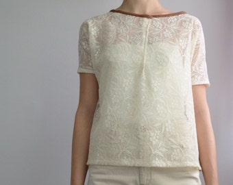 Lace and cotton blouse
