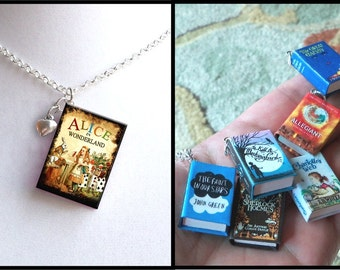 Alice In Wonderland - Vintage Style - With Tiny Heart Charm -Micro Mini Book Necklace