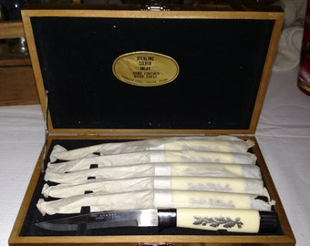 Vintage Sterling Silver Inlay Steak Knives