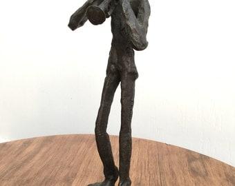 Cast Bronze Statue Musician Figure Trumpet Sculpture