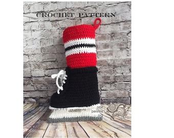 CROCHET PATTERN - Hockey Skate Christmas Stocking - Instant PDF Download