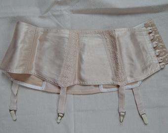 Girdle Soviet -Time Vintage Beige Suspender Girdle Waspie Cotton Lingerie Made in USSR  era 1970 s