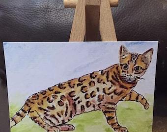 Bengal cat ACEO artcard professional digital print of my original painting