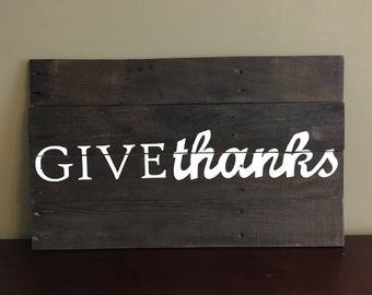 Reclaimed Pallet Wood Decor, Give Thanks, Fall and Thanksgiving Decor