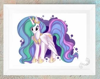 MLP My Little Pony FIM Princess Celestia Fan Art Print Gift Handmade Design