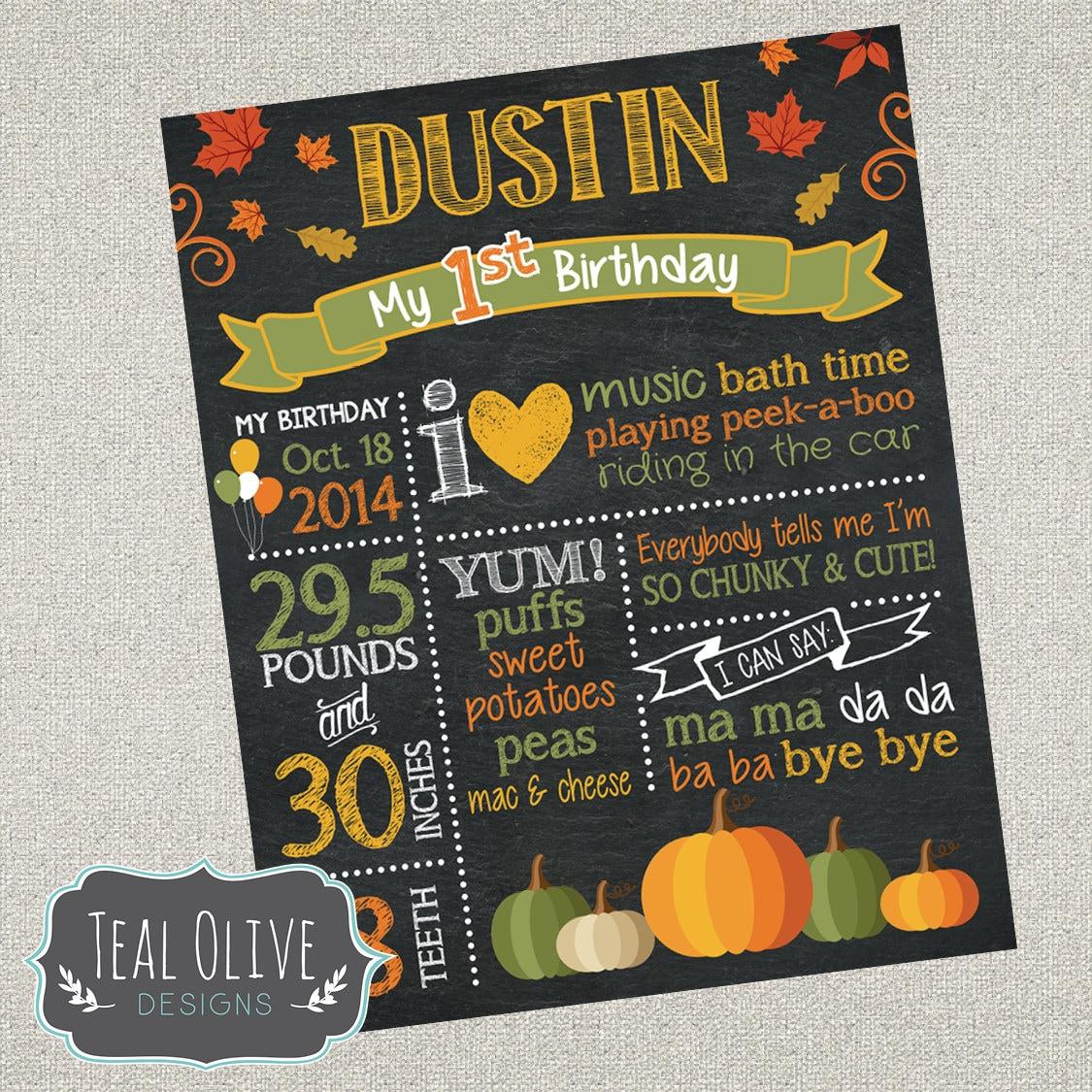 Fall Pumpkin Theme Birthday Chalkboard Sign First Birthday