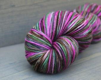 Fingering weight yarn, hand dyed superwash wool and nylon