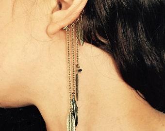 Brass cuff, feather jewellery , brass earrings, ear cuff, bohemian earrings, tribal earrings, feather accessory, festival feathers