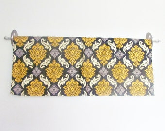 Yellow Valance. Grey Damask valence. Yellow and Grey Aviary Kitchen Valance.Valance Curtain.