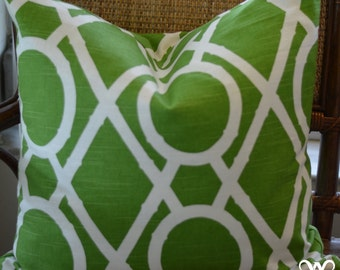 Pillow Cover - Green and White Trellis Print