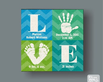 Love Baby Birth Announcement Canvas Print - Hand & Foot Print- Nursery Canvas Subway Art , Personalized Wall Hanging