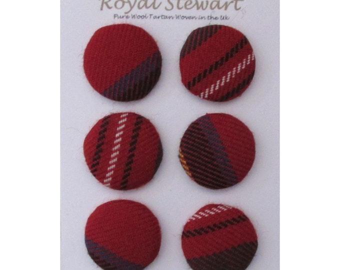 Royal Stewart Pure Wool Tartan Handmade Covered Set of 6 Buttons 24mm Diameter
