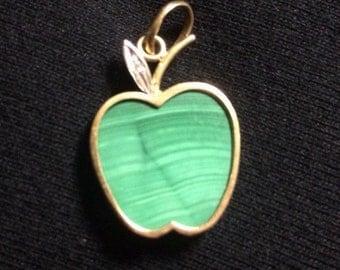 14K Malachite Green Apple Pendant