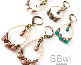 Wire wrap chandelier earrings in bronze and copper with czech faceted fire polished bead detail copper white teal or gray