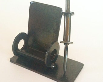 Doctor or Nurse Business Card Holder, Welded Steel Wheelchair and Syringe, Scrap Metal Functional Sculpture