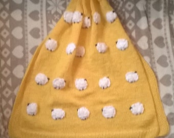 Made to Order - Sheep Baby Blanket, handknit -  New baby Gift