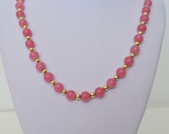 """Vintage Gold Tone Pink Glass Bead Necklace 26"""" Long"""