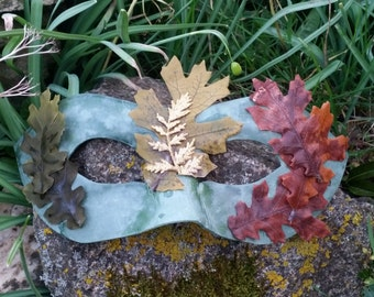 Autumn God mask, Mabon sabbat,  Autumn Equinox, pagan ritual, mumming mystery plays, ritual costume, masquerade mask, fall home decor