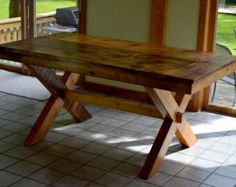 Cameron Dining Table - Reclaimed Barnwood Farmhouse Top on Wooden 'X' Base