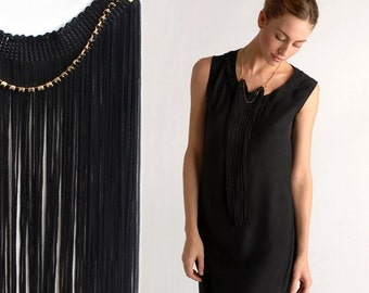 Black Fringe Statement Necklace, Black Necklace, Long Fringe Necklace, Elegant Necklace