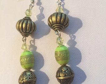 Olive green lime earrings